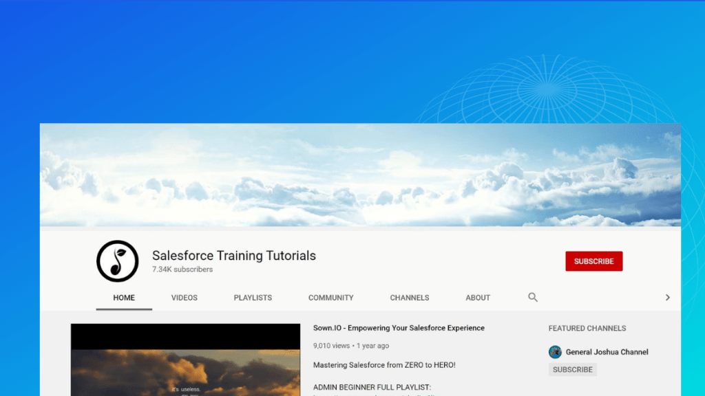 salesforce training tutorials youtube channel