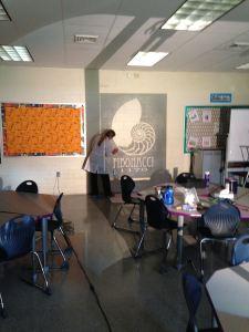 Mrs. Jordan working on the Fibonacci graphic.