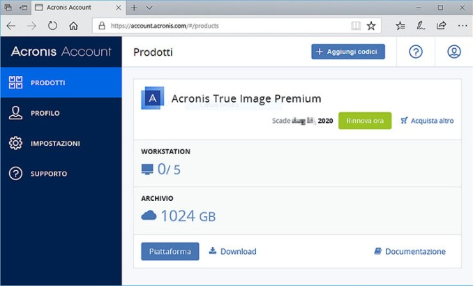 Acronis True Image 2020, crittografia e cloud backup