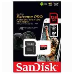 SanDisk Extreme Pro microSD 128GB+SD Adpt 170MB/s A2 V30 UHS-I