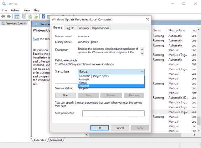 نتيجة بحث الصور عن stop Windows Update service Startup type