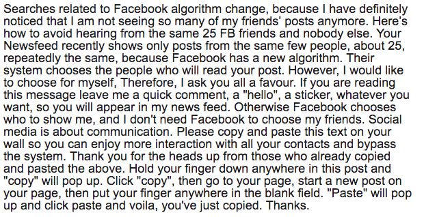 Fake FB Algorithm Message