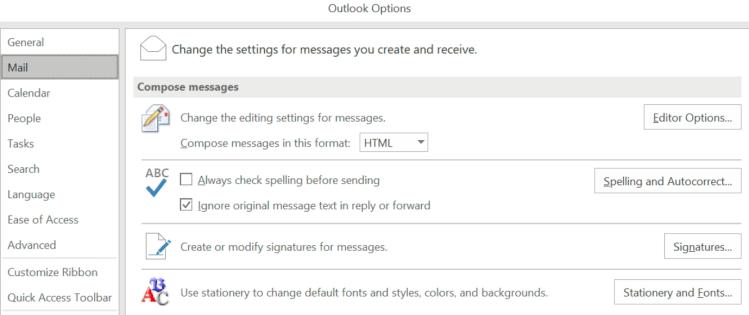 Outlook Windows Options