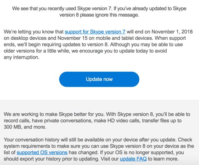 Skype 8 upgrade notice