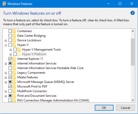 Hyper-V install from Windows Features