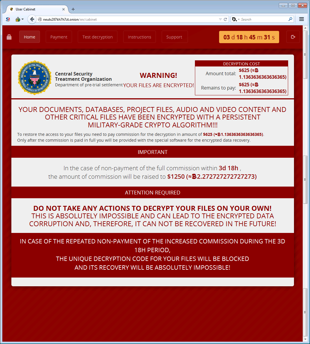 Fak Central Security Treatment Organization website for ransom payment (Source: http://www.bleepingcomputer.com/news/security/the-crylocker-ransomware-communicates-using-udp-and-stores-data-on-imgur-com/)