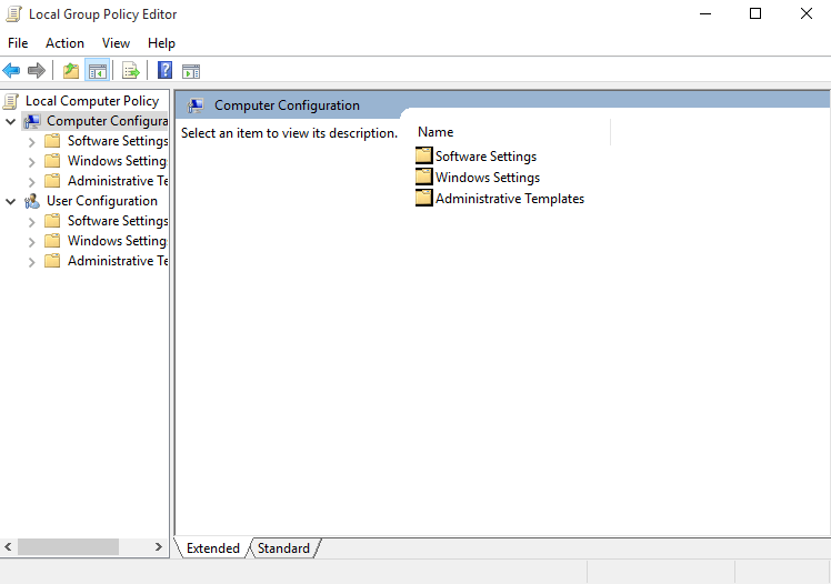 Computer configuration in GPEDIT