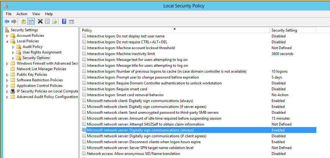 Local Policy Security Xp