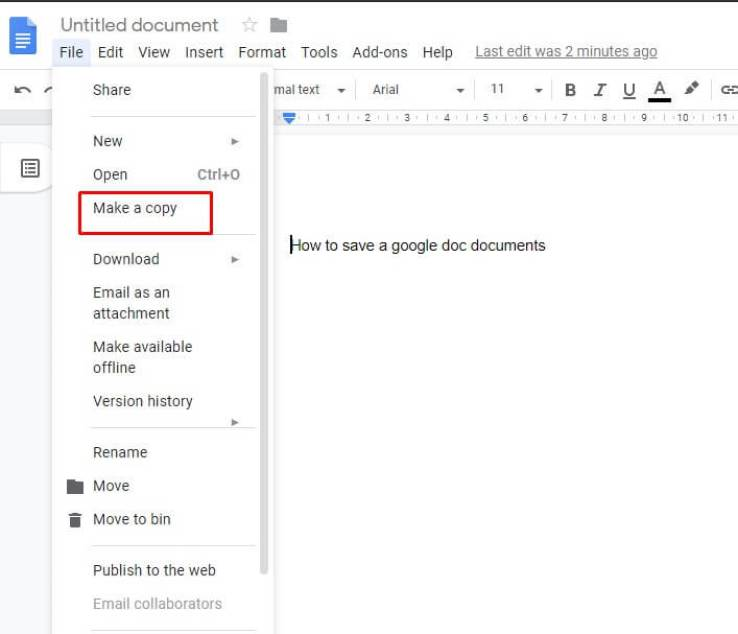 save a google shared document