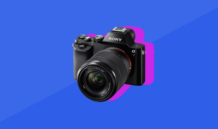 The wallpaper of Sony a7 on blue background with pink shadow