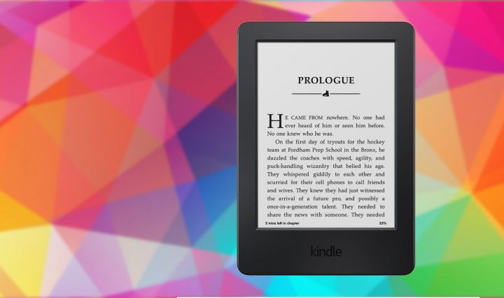 Colorful banner with Amazon Kindle photo