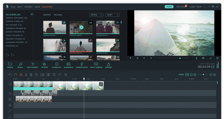 The interface of Filmora video editor