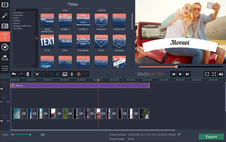 The interface of Movavi video editor