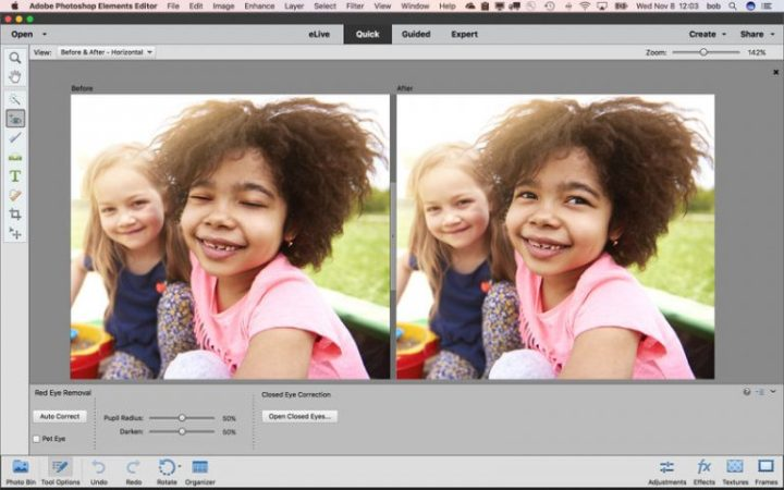 The interface of Photoshop Elements