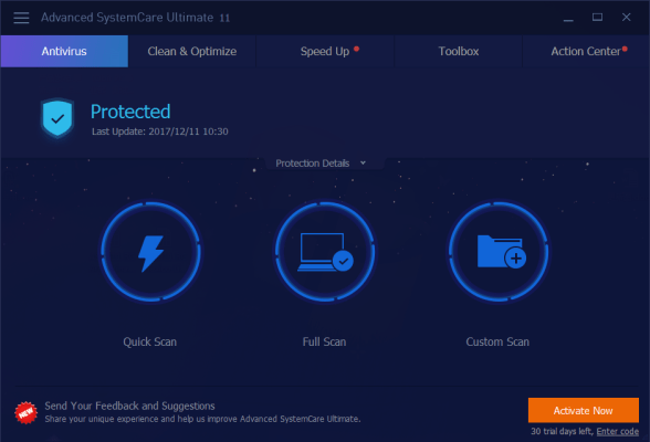 Advanced SystemCare Ultimate interface