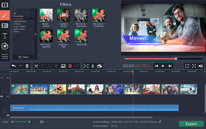 The interface of Movavi Video Editor Business