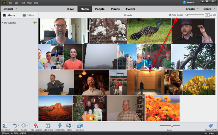 the interface of photoshop elements auto curate
