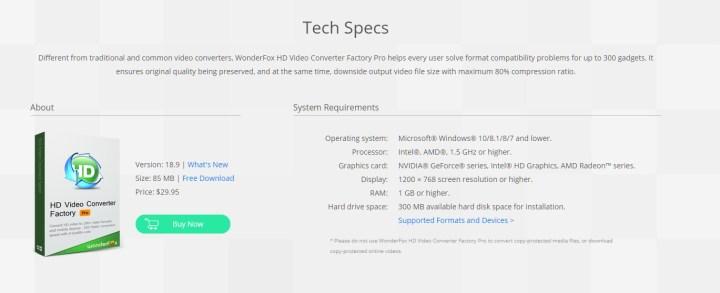 hd video conver factory pro tech specs