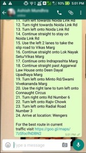 share route information on whatsapp