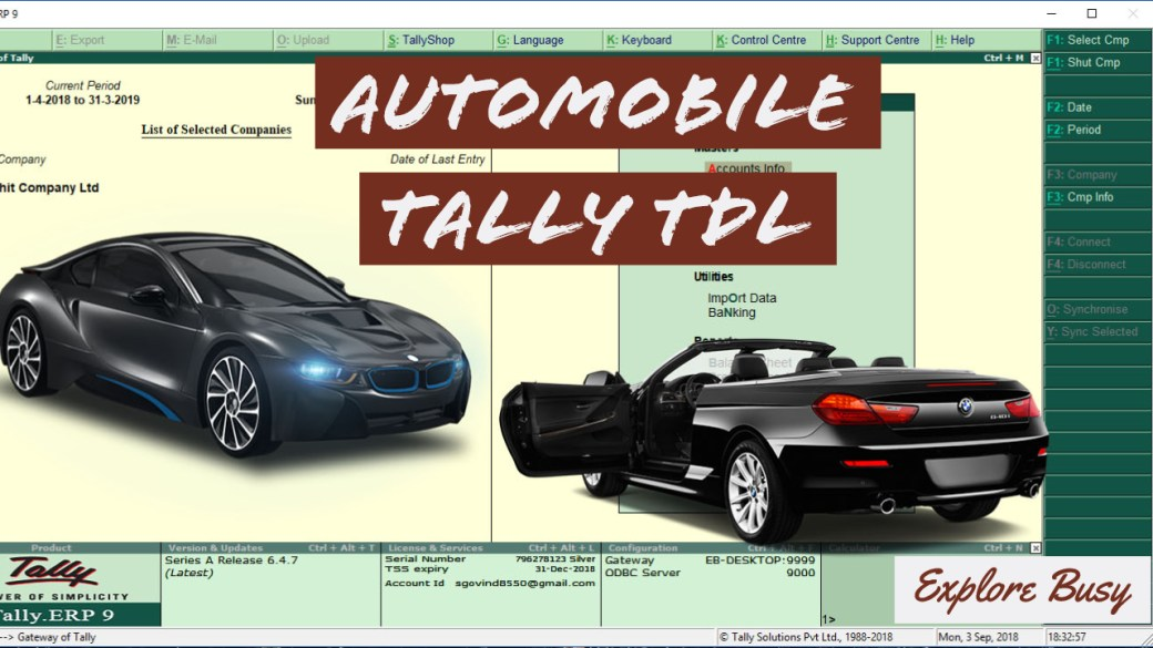 Automobile Service Invoice TDL for tally erp 9