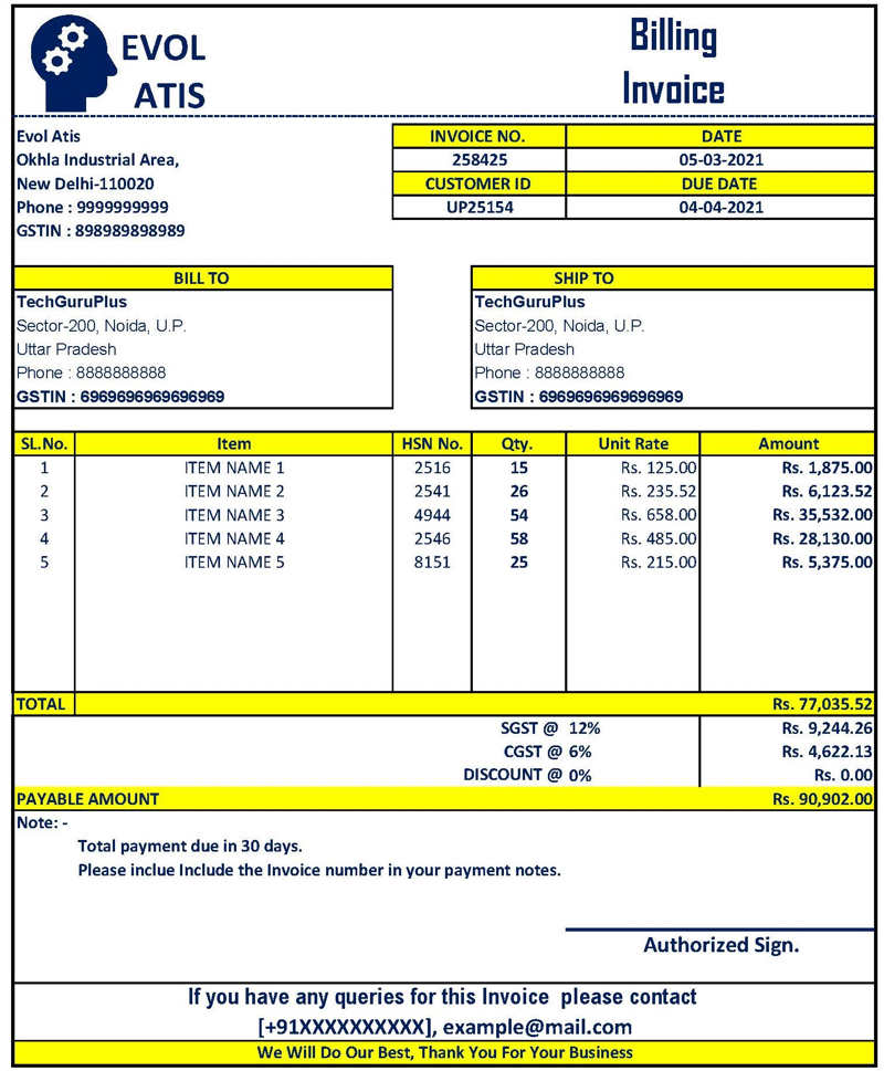 Latest Gst Invoice Format In Excel Download Xlsx File