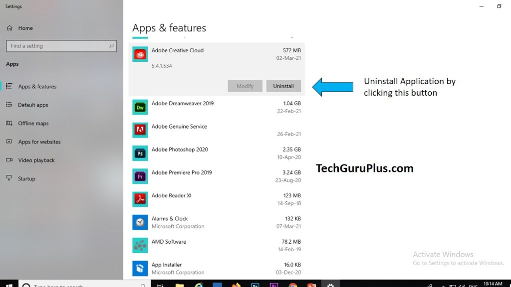 Uninstall Application from Apps Setting in Windows 10