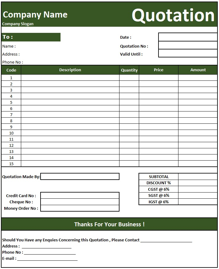 Cctv Camera Quotation Format , Download Quotation Format in Excel