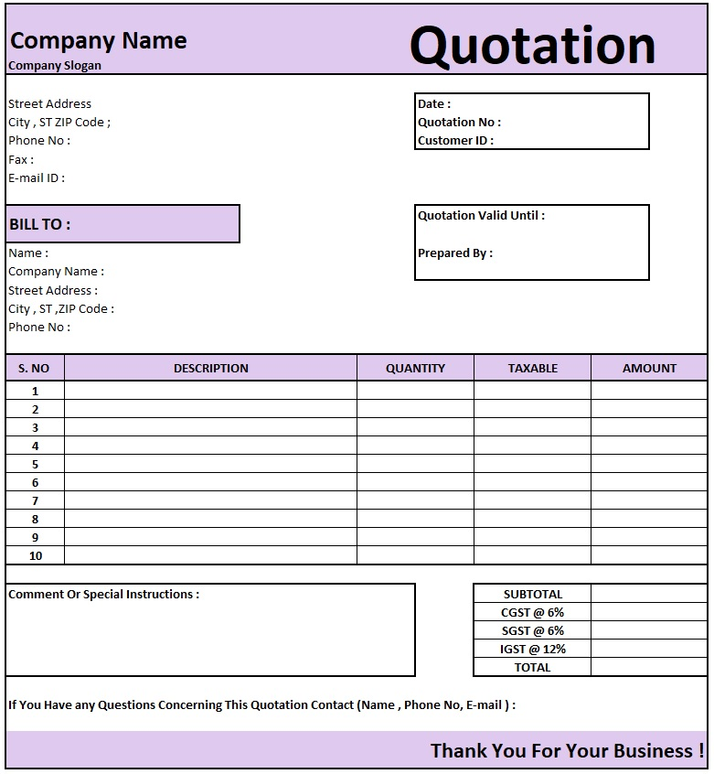 Computer Amc Quotation Format Sample , Download Quotation Format in Excel