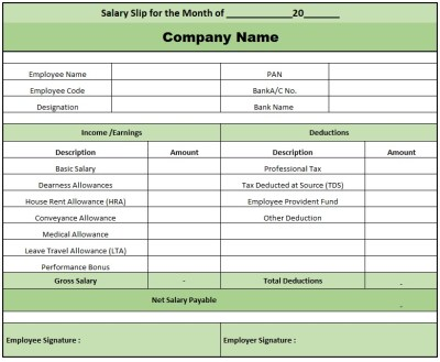 Monthly Salary Slip Format In Excel Free Download , Pay Slip Format Excel