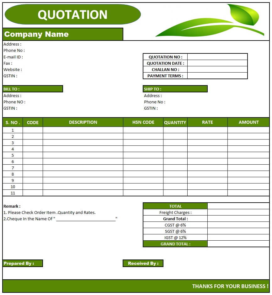 Quotation Mail Format , Download Quotation Format in Excel