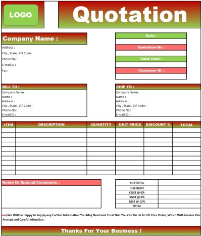 Rate Quotation Format Letter , Download Quotation Format in Excel