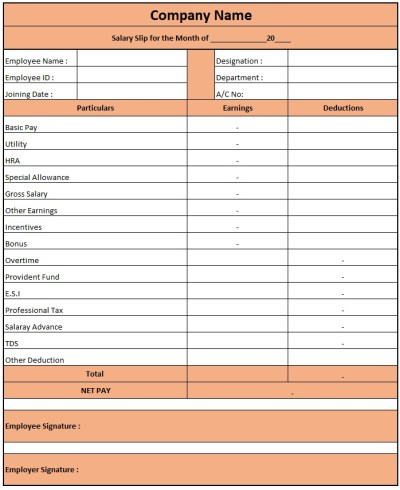 Salary Slip Format For Private Company , Pay Slip Format Excel