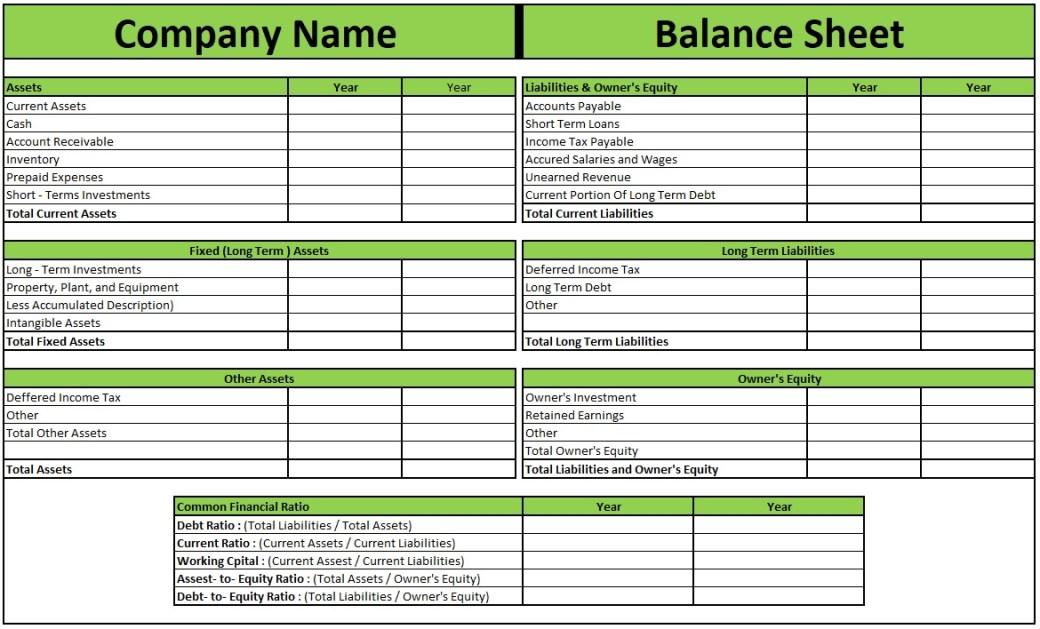 Download professional Balance Sheet templates
