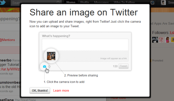 twitter phot tweeting feature addon
