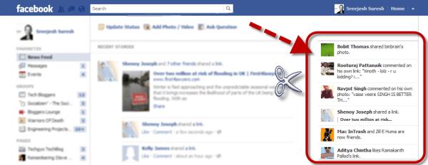facebook ticker remover