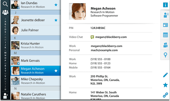 BlackBerry PlayBook Contacts