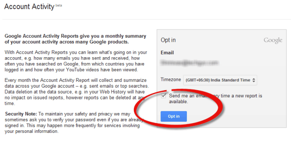 Google Account Activity