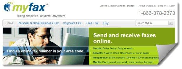 myfax website screenshot