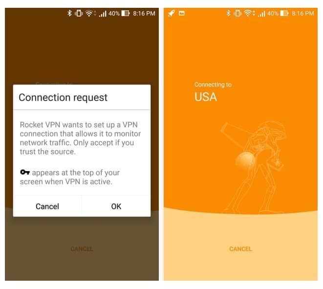 Connection Request - Rocket VPN