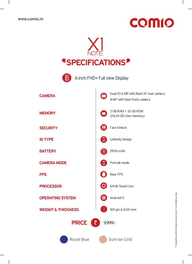 Specifications of X1note