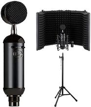 Blue Blackout Spark SL XLR Condenser Microphone with Auray RF-5P-B Reflection Filter and RFMS-580 Reflection Filter Tripod Mic Stand