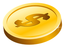 Gold coin icon to indicate savings