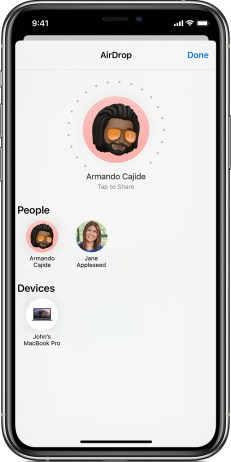 how to use AirDrop to share files on iphone