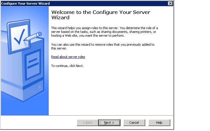 Configure your Server Wizard