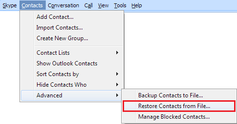 Restore Skype Contacts