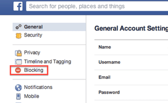 blocking option on fb