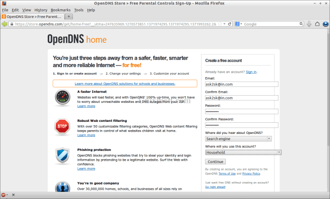 free opendns ip address