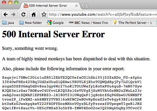 Rezultatul imaginii pentru 500 de erori interne de server youtube