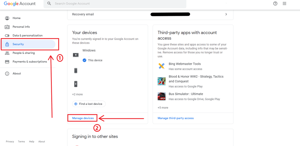 google account devices
