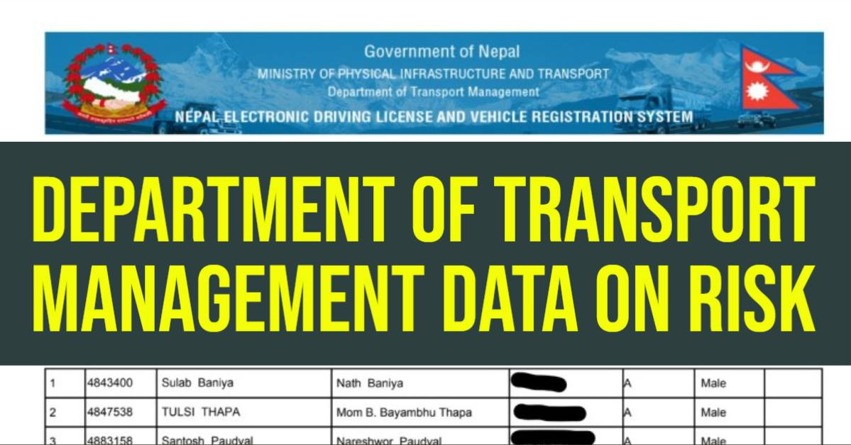 Data Breach in Nepal Driving License Applicants Data in Risk